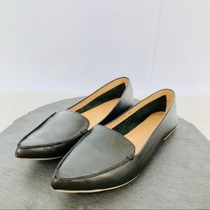 J. Crew black leather women's flats size 10